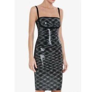 $2250 HERVE LEGER Katherine Sequin Space-Dye Dress